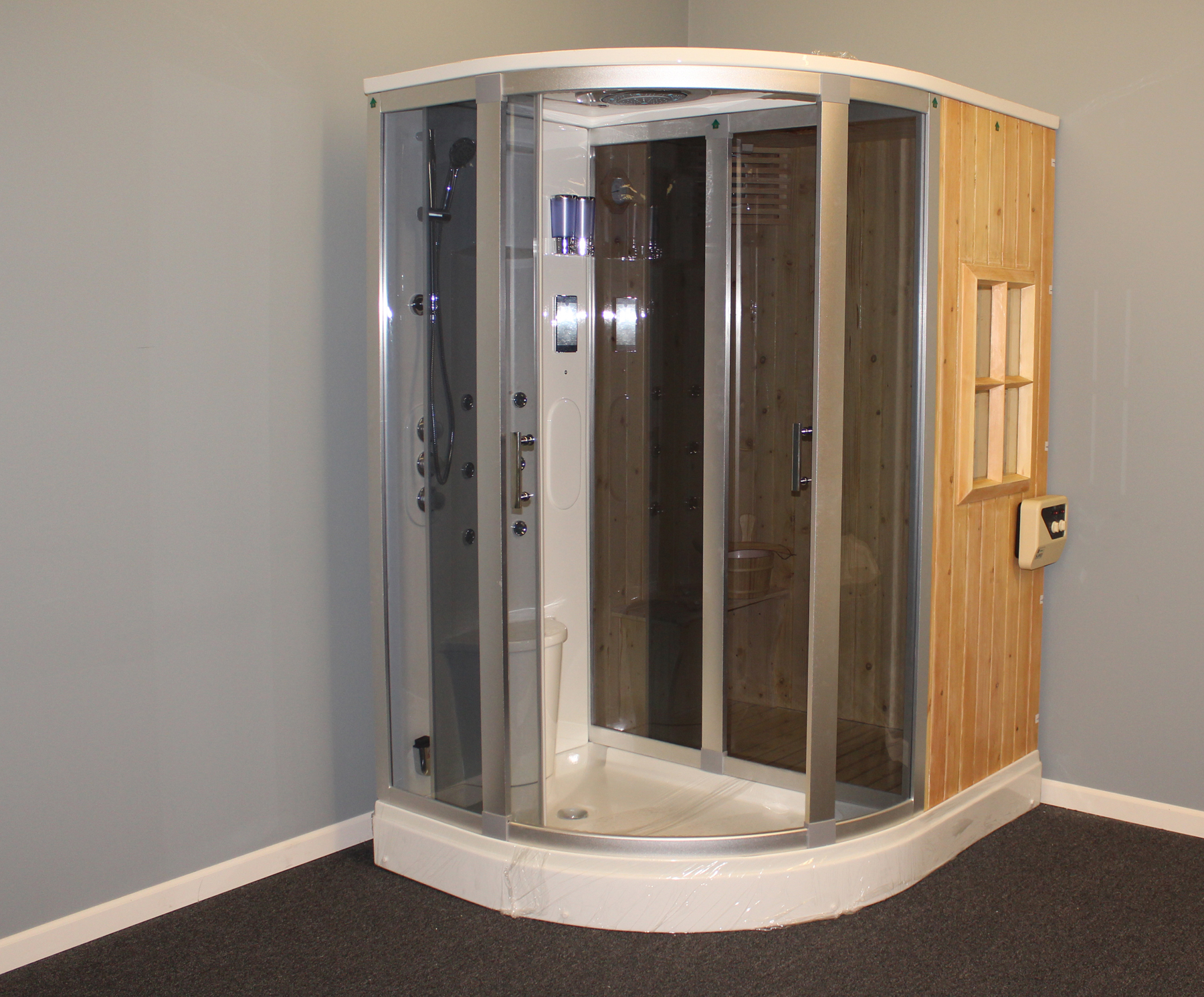 B001 - Image 19 Deluxe Shower / Dry Sauna Combo System + Steam Cabin.