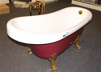 Classic Clawfoot Tub w/ Regal brass Lion Feet, Gold telephone style tub faucet   - Image 7