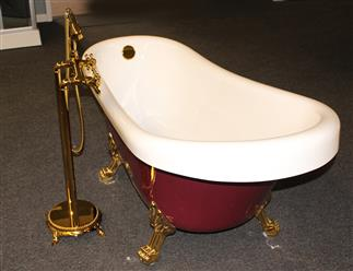 Classic Clawfoot Tub w/ Regal brass Lion Feet, Gold telephone style tub faucet   - Image 4